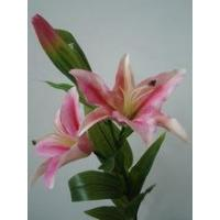 Buy cheap artificial silk flowers cheap fabric 3 head lily for home decorations from wholesalers