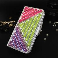 Luxury Colorful Full Cover Diamond Pearl Phone Case For iPhone 5 6 S Plus Leather Case