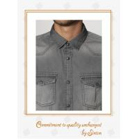 Buy cheap Gents, Comfortably casual shirts Washed Cotton Denim Long Sleeve Shirt for Men-Grey from wholesalers