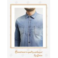Buy cheap Gents, Comfortably casual shirts Washed Cotton Elastic Denim Long Sleeve Shirt for Men from wholesalers