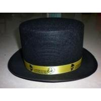 Buy cheap Wholesale Black felt top hats with logo printed gold ribbon from wholesalers