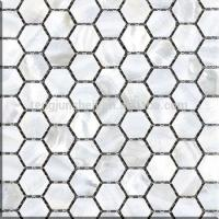 Buy cheap CP3156p pure white freshwater shell mosaic shower floor mesh backed mosaic tiles from wholesalers