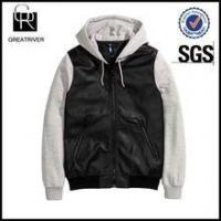 Buy cheap Bomber jacket in imitation leather with a drawstring hood and sleeves from wholesalers
