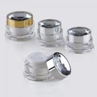 Buy cheap Straight Round Acrylic Cream Jar with Diamond Effect Cap HPK-SKINP27-000024W from wholesalers