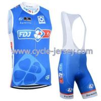 Buy cheap FDJ Clover Blue 2015 Cycling Sleeveless Jerseys Cycling Vest Cycling Jersey And Bib Shorts Set from wholesalers