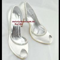 Buy cheap Bride Shoes Peep toe High Heel Hidden Platform Ivory Satin Bridal Shoes (30 color Choice) from wholesalers