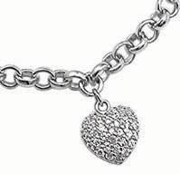 Buy cheap Sterling Silver Pave CZ Heart Charm Bracelet from wholesalers