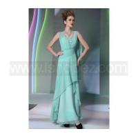 A line square sloping-wasit floor length Korea chiffon evening dress with ribbon