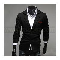 Buy cheap Men's Casual/Work PU Leather Embellish Turndown Collar Blazer Jacket from wholesalers