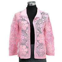 Buy cheap Ladies' Wear Allover hand crochet pattern 3/4 sleeves cardigan w/suede from wholesalers