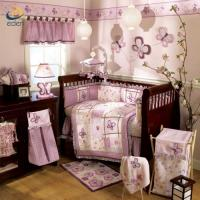 Buy cheap China nursery products supplier purple girl patchwork embroidry cotton baby cot bedding set from wholesalers