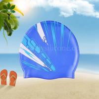 Buy cheap The silicone bracelet blue silicone waterproof swimming cap w/printing from wholesalers