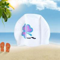 Buy cheap The silicone bracelet white silicone swim cap w/printing, adult swim cap from wholesalers