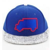 Buy cheap Cool design blue and white cotton snapback cap with trucket embroidery from wholesalers
