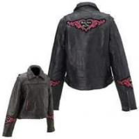 Buy cheap Diamond Plate Rock Design Ladies Genuine Leather Jacket product