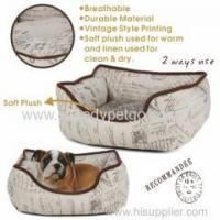 Buy cheap High Quality Luxury Linen Fabric Pet Bed with Vintage Styple Printing from wholesalers