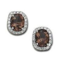 Buy cheap 2 Carat Smokey Topaz and Diamond Studs. from wholesalers