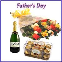 Buy cheap Gift For Special Day Mix Roses with Wine N Chocolates Treat for Dad from wholesalers
