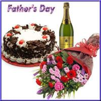 Gift For Special Day Champagne with Cake N Flowers For Dad