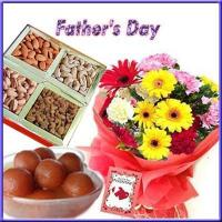 Buy cheap Gift For Special Day Gulab Jamuns with Dryfruits N Flowers for Dad from wholesalers