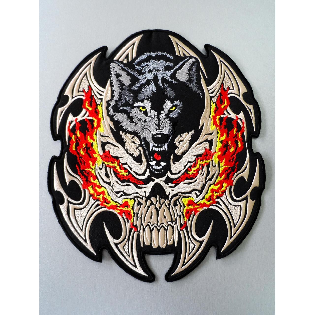 Buy cheap Embroidered Biker Motorcycle Skull Wolf Patch from wholesalers