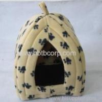 China cute cat pet foldable fabric house with paw printing on sale