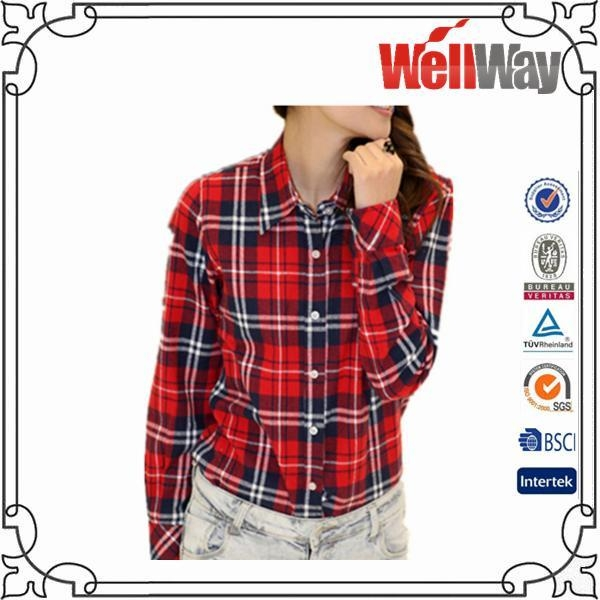 Polyester flannel shirt for lady 43466407 for Cotton polyester flannel shirts