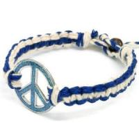 Buy cheap blue peace sign hemp bracelet from wholesalers