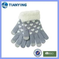 Buy cheap feather cuff heart jacquard winter knit touch glove from wholesalers