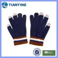 Buy cheap men navy blue knit smart finger touch gloves from wholesalers