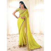 Buy cheap 2 Magnetizing Yellow Georgette Printed Saree from wholesalers