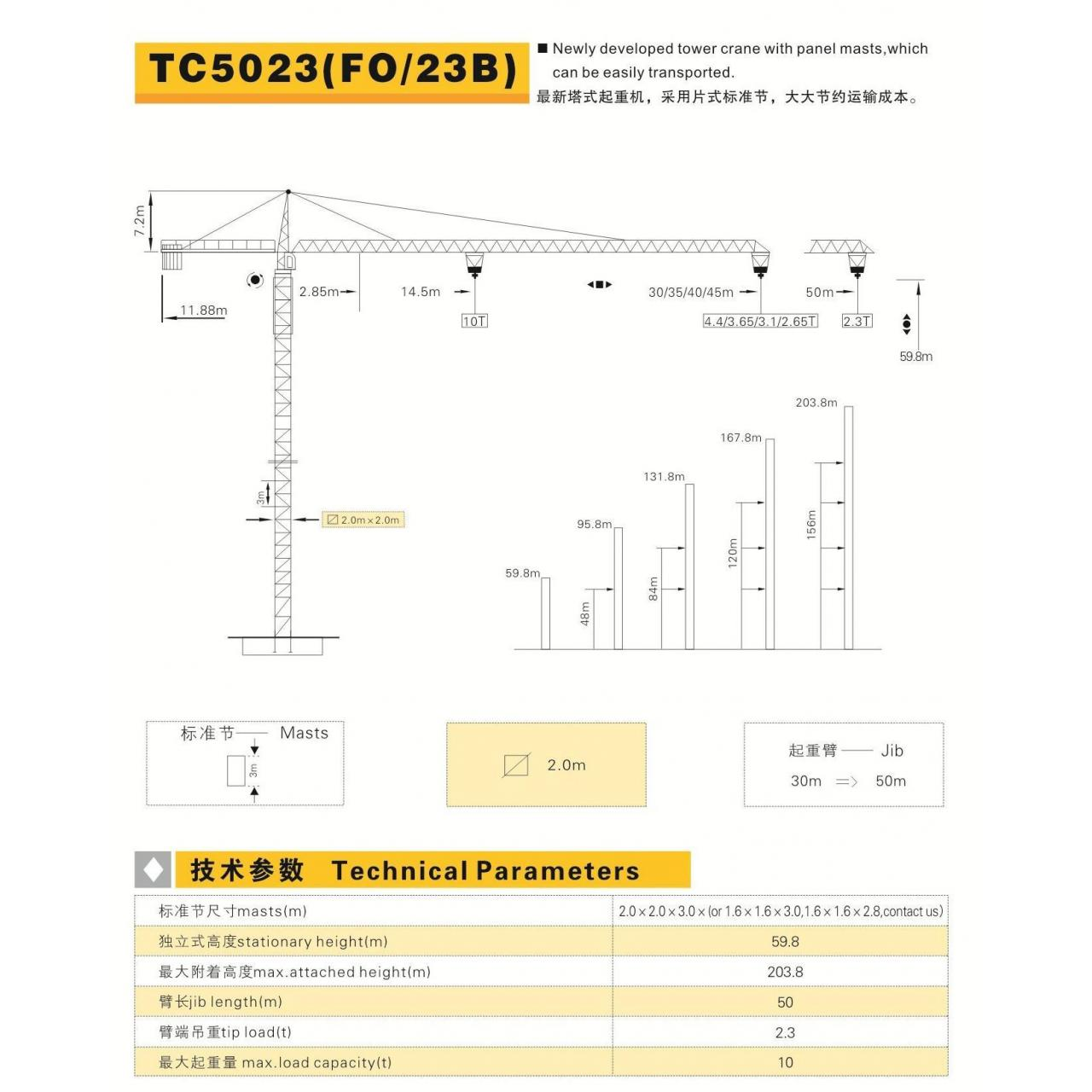 Buy cheap Drilling rig English TC5023 / F0 23B tower crane from wholesalers