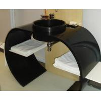 Buy cheap bathroom countertops with sink Custom size black solid surface countertop BBCT-001 from wholesalers