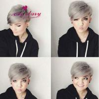 Buy cheap 8 inch short bob human hair grey wig 130 density most popular summer style front lace wig from wholesalers