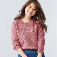 Buy cheap Diamond Pattern Knit Crew Neck Sweater from wholesalers