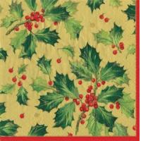Buy cheap Gilded Holly gold Paper Cocktail Napkins - 20 per package from wholesalers