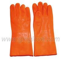 Buy cheap Orange Fluorescent PVC Coated Work Gloves For Winter, Sandy Palm from wholesalers