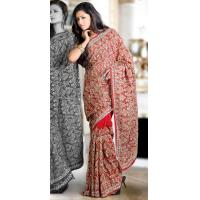 China Sarees Red Faux Georgette Saree on sale
