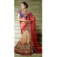Buy cheap Sarees Beige Brown Brasso Embroidered Designer Saree from wholesalers