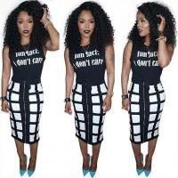 Buy cheap Sleeveless Black Top Grid Printed Bodycon Skirt Two Pieces Set OEP5034 #OEP5034 from wholesalers