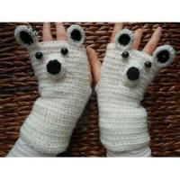 Buy cheap Crocheted Fingerless Mittens Gloves White Bear product