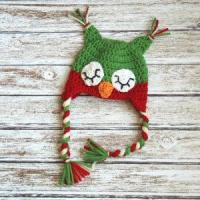 Buy cheap Christmas sleepy owl hat for boys and girls, crochet christmas hat in red and green from wholesalers