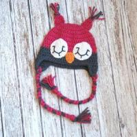 Buy cheap Sleepy owl crochet hat for girls in pink and gray from wholesalers