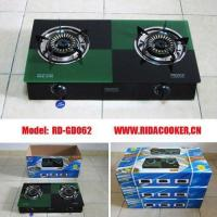 Buy cheap 7mm tempered glass gas stove with cast iron body/double burners gas cooker (RD-GD062) from wholesalers