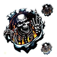China Motorcycle sticker Threat Fire Finger Skull Decal Sticker for Cars Motorcycle on sale