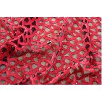 Buy cheap Splendid Black Net With Red Tape Lace Fabric Beaded from wholesalers