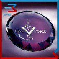 Buy cheap Engravable Crystal Glass Paperweight with Facet Cut edge from wholesalers