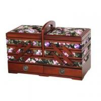 Buy cheap Fabric Sewing Box with Wood Cantilever and Drawers from wholesalers