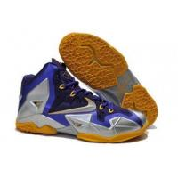 Buy cheap A Great Blend Of Quality Lebron 11 Grey Yellow Navy Blue Basketball Shoes Mens from wholesalers