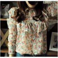 Buy cheap Lady Floral Chiffon Tops Pastoral Korean Slim Retro Blouses from wholesalers